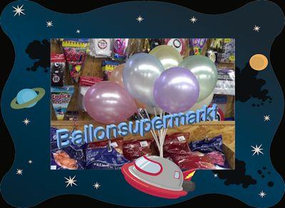Luftballons Perlmutt im Ballonsupermarkt, dem riesigen Fachmarkt für Luftballons und Ballongase auf 1000 qm